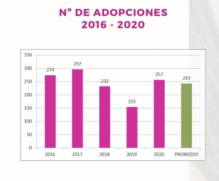 Evolución de las adopciones 2016 - 2020